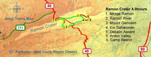 East Ramon Crater Our Classic 4.0 hour  tour map