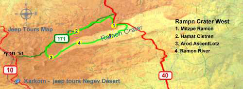 West Ramon Crater tour map